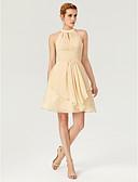 Χαμηλού Κόστους Φορέματα κοκτέιλ-Γραμμή Α Με Κόσμημα Μέχρι το γόνατο Σιφόν χαριτωμένο στυλ / Κομψό / Κλειδαρότρυπα Κοκτέιλ Πάρτι / Αργίες Φόρεμα 2020 με Χάντρες / Κρυστάλλινη λεπτομέρεια / Που καλύπτει