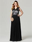 ราคาถูก Special Occasion Dresses-ชีท / คอลัมน์ คอวี ลากพื้น ชิฟฟอน / ลูกไม้ Color Block ค็อกเทลปาร์ตี้ / Prom / ทางการ แต่งตัว กับ เข็มกลัด / ริบบิ้น / พลีท โดย TS Couture®