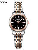 povoljno Kvarcni satovi-SINOBI Žene Luxury Watches Ručni satovi s mehanizmom za navijanje Japanski Kvarc Nehrđajući čelik Srebro 30 m Otporni na udarce Analog dame Luksuz Ležerne prilike Moda - Gold / Silver / crna Dvije