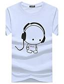 baratos Camisetas & Regatas Masculinas-Homens Camiseta Básico Estampado, Gráfico Algodão Decote Redondo Delgado Preto / Manga Curta / Verão