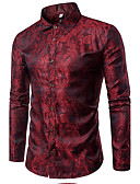 ราคาถูก เสื้อเชิ้ตผู้ชาย-สำหรับผู้ชาย เชิร์ต ความหรูหรา ฝ้าย ลายพิมพ์ ปกคลาสสิค เพรียวบาง สีพื้น สีม่วง / แขนยาว