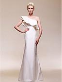 Χαμηλού Κόστους Βραδινά Φορέματα-Ίσια Γραμμή Ένας Ώμος Μακρύ Ταφτάς Κομψό / Στυλ Διασήμων Επίσημο Βραδινό / Γαμήλιο Πάρτι Φόρεμα 2020 με Βολάν