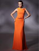 ราคาถูก Special Occasion Dresses-ชีท / คอลัมน์ Cowl Neck ลากพื้น ชิฟฟอน สไตล์ของบุคคลที่มีชื่อเสียง Prom / ทางการ แต่งตัว กับ คริสตัล / ริบบิ้น โดย TS Couture®