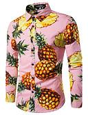 billige Kjoler med trykk-Bomull Skjorte Herre - Frukt, Trykt mønster Arbeid Ananas Rosa / Langermet / Høst