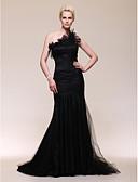 Χαμηλού Κόστους Βραδινά Φορέματα-Τρομπέτα / Γοργόνα Ένας Ώμος Ουρά Τούλι Εμπνευσμένα από τις Χρυσές Σφαίρες / Στυλ Διασήμων / Εμπνευσμένο από Βίντατζ Επίσημο Βραδινό Φόρεμα 2020 με Πλαϊνό ντραπέ / Βολάν