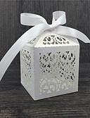 ราคาถูก ของชำร่วยงานแต่งที่แขวน-รอบ / Square / Cubic Pearl Paper Holder โปรดปราน กับ โบว์ / Printing กล่องของขวัญ - 50