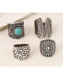 ราคาถูก นาฬิกาควอตซ์-สำหรับผู้หญิง แหวนคู่ ชุดแหวน Turquoise 4 ชิ้น สีเงิน โลหะผสม Geometric Shape ผิดปกติ เครื่องประดับชิ้นใหญ่ เอเชียน วินเทจ ปาร์ตี้ ของขวัญ เครื่องประดับ ทางเรขาคณิต วางซ้อนกันได้
