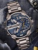 baratos Relógio Esportivo-Homens Relógio Casual Relógio Esportivo Relógio de Moda Quartzo Aço Inoxidável Preta / Prata Calendário Dois Fusos Horários Legal Analógico Luxo Clássico Vintage Casual Rígida - Preto e Dourado Azul