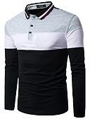 Χαμηλού Κόστους Ανδρικά μπλουζάκια και φανελάκια-Ανδρικά T-shirt Βαμβάκι Συνδυασμός Χρωμάτων Κολάρο Πουκαμίσου Ρουμπίνι / Μακρυμάνικο / Φθινόπωρο