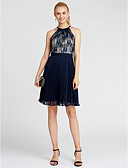 ราคาถูก ชุดสำหรับงานเลี้ยง-บอลกาวน์ อัญมณี เสมอเข่า ชิฟฟอน / ลูกไม้ Color Block ค็อกเทลปาร์ตี้ แต่งตัว กับ ริบบิ้น / พลีท โดย TS Couture®