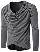 Χαμηλού Κόστους Ανδρικά μπλουζάκια και φανελάκια-Ανδρικά T-shirt Βαμβάκι Μονόχρωμο Λαιμόκοψη V Λεπτό Μαύρο / Μακρυμάνικο / Φθινόπωρο