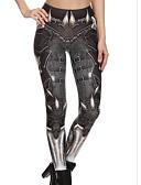 billige Tights-Dame Sexy Sporty Tights - Geometrisk, Trykt mønster Medium Midje Brun M L XL / Skinny