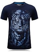 ราคาถูก เสื้อยืดและเสื้อกล้ามผู้ชาย-สำหรับผู้ชาย ขนาดพิเศษ เสื้อเชิร์ต ซึ่งทำงานอยู่ Sport - ฝ้าย ลายพิมพ์ คอกลม สัตว์ Tiger สีดำ / แขนสั้น / ฤดูใบไม้ผลิ / ฤดูร้อน / ตก
