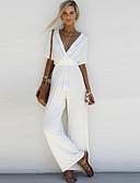 ราคาถูก จั๊มสูทและเสื้อคลุมสำหรับผู้หญิง-สำหรับผู้หญิง ขากว้าง พื้นฐาน คอวี สีดำ ขาว สีแดงชมพู ชุด Jumpsuits Onesie, สีพื้น S M L สูงกว่าปกติ ครึ่งแขน ฤดูใบไม้ผลิ ฤดูร้อน