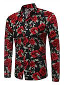 baratos Camisas Masculinas-Homens Camisa Social Vintage Estampado, Floral Delgado Branco / Manga Longa