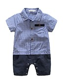 billige BabyGutterdrakter-Baby Gutt Pledd / Tern Kortermet Bomull Kjeledress og jumpsuit Blå