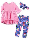 povoljno Kompletići za djevojčice-Dijete koje je tek prohodalo Djevojčice Cvijetan Svečana odjeća Jednobojni Cvjetni print Dugih rukava Regularna Normalne dužine Pamuk Komplet odjeće Blushing Pink
