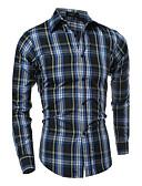 ราคาถูก เสื้อเชิ้ตผู้ชาย-สำหรับผู้ชาย ขนาดพิเศษ เชิร์ต ซึ่งทำงานอยู่ ฝ้าย ปกตั้ง ลายแถบ / ลายสก็อต สีดำ / แขนยาว / ฤดูร้อน