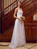 ราคาถูก ชุดแต่งงาน-A-line คอสวีทฮาร์ท ลากพื้น ปักด้วยดอกทิวลิป ชุดแต่งงานที่ทำขึ้นเพื่อวัด กับ เข็มกลัด / ลูกไม้ โดย LAN TING BRIDE® / ซีทรู / หลังสวยๆ