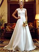 billiga Brudklänningar-Balklänning V-hals Hovsläp Spets / Taft Remmar Genomskinliga / Vacker i svart Bröllopsklänningar tillverkade med Pärldetaljer / Veckad 2020