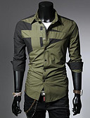 olcso Férfi pólók-Egyszerű Klasszikus gallér Férfi Pamut Ing - Egyszínű / Színes Rubin / Hosszú ujj