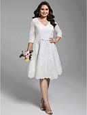 billiga Brudklänningar-A-linje V-hals Knälång Heltäckande spets 3/4 ärm Formella Liten vit klänning / Blommig spets Bröllopsklänningar tillverkade med Applikationsbroderi / Rosett(er) / Knappar 2020