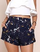 ราคาถูก กางเกงผู้หญิง-สำหรับผู้หญิง Street Chic ทุกวัน เพรียวบาง / กางเกง Chinos / กางเกงขาสั้น กางเกง - ลายดอกไม้ ลายพิมพ์ สีน้ำเงินกรมท่า M L XL