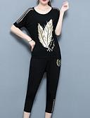 Χαμηλού Κόστους Γυναικεία σετ δυο τεμαχίων-Γυναικεία Μεγάλα Μεγέθη Εξόδου Κινεζικό στυλ T-shirt / Σετ - Δέντρα / Φύλλα Παντελόνι / Καλοκαίρι