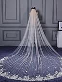 ราคาถูก ม่านสำหรับงานแต่งงาน-ชั้นเดียว ตัดมุม / งานผ้าขอบลายลูกไม้ ผ้าคลุมหน้าชุดแต่งงาน ผ้าคลุมหน้าในโบสถ์ กับ เข็มกลัด / Scattered Bead Floral Motif Style ลูกไม้ / Tulle / คลาสสิก