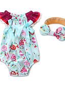 זול אוברולים טריים לתינוקות-חליפת גוף כותנה שרוולים קצרים גיאומטרי / אופנתי פרחוני / לבוש מהודר בנות תִינוֹק / פעוטות
