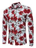 baratos Camisas-Homens Camisa Social Estampado, Floral Algodão Colarinho Clássico Delgado Branco / Manga Longa