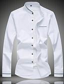 baratos Camisas Masculinas-Homens Camisa Social - Trabalho Sólido Algodão Colarinho Clerical Azul Claro / Manga Longa