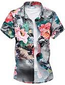ราคาถูก เสื้อเชิ้ตผู้ชาย-สำหรับผู้ชาย ขนาดพิเศษ เชิร์ต ฝ้าย ลายพิมพ์ เพรียวบาง ลายดอกไม้ สีน้ำเงิน / แขนสั้น / ฤดูร้อน / ตก
