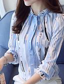 billige Skjorter til damer-Høy krage Bluse Dame - Stripet, Trykt mønster Arbeid Blå / Vår / Høst / Snøring