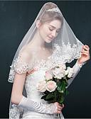 ราคาถูก ม่านสำหรับงานแต่งงาน-ชั้นเดียว งานผ้าขอบลายลูกไม้ ผ้าคลุมหน้าชุดแต่งงาน Blusher Veils / Elbow Veils กับ เข็มกลัด / หินประกาย Tulle / Oval