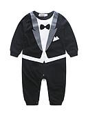 billige Sett med Gutter babyklær-Baby Gutt Finklær Helfarge Langermet Bomull Kjeledress og jumpsuit Svart