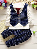 Χαμηλού Κόστους Βραδινά Φορέματα-Νήπιο Αγορίστικα Καρό Μονόχρωμο Μακρυμάνικο Κανονικό Κανονικό Βαμβάκι Σετ Ρούχων Μαύρο