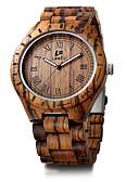 זול שעונים מכאניים-בגדי ריקוד גברים שעון צמיד Japanese עץ שחור / אדום / חום לוח שנה כרונוגרף יצירתי אנלוגי פאר וינטאג' יום יומי צמיד מינימליסטי - חום אדום הסוואת בראון / צג גדול