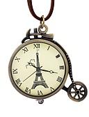 ราคาถูก นาฬิกาสำหรับผู้ชาย-สำหรับผู้ชาย สำหรับผู้หญิง นาฬิกาแบบพกพา ไขลานด้วยมือ หนัง น้ำตาล แกะสลักกลวง ปุ่มหมุนขนาดใหญ่ ระบบอนาล็อก วินเทจ หอไอเฟล - บรอนซ์