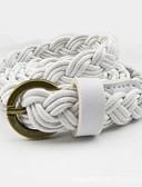 ราคาถูก เข็มขัดแฟชั่น-สำหรับผู้หญิง สีพื้น ผ้า / โลหะผสม ชุดเข็มขัด - เข็มขัดเส้นเล็ก