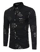 ราคาถูก เสื้อเชิ้ตผู้ชาย-สำหรับผู้ชาย เชิร์ต ปาร์ตี้ / คลับ ลายพิมพ์ ปกคลาสสิค เพรียวบาง ลายดอกไม้ สีดำ / แขนยาว