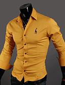 ราคาถูก เสื้อเชิ้ตผู้ชาย-สำหรับผู้ชาย เชิร์ต ฝ้าย ปกคลาสสิค เพรียวบาง สีพื้น สีน้ำเงินกรมท่า / แขนยาว / ฤดูใบไม้ผลิ / ตก