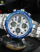 Χαμηλού Κόστους Quartz Ρολόγια-Ανδρικά Ρολόι Καρπού Ιαπωνικά Χαλαζίας Ανοξείδωτο Ατσάλι Ασημί 30 m Ανθεκτικό στο Νερό Ημερολόγιο Χρονογράφος Αναλογικό Λευκό Μαύρο Μπλε / LCD / Χρονόμετρο / Νυχτερινή λάμψη / Μεγάλο καντράν