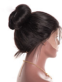 baratos Vestidos Plus Size-Cabelo Humano Renda Frontal sem Cola Frente de Malha Peruca estilo Cabelo Indiano Liso Peruca 130% Densidade do Cabelo com o cabelo do bebê Riscas Naturais Para Mulheres Negras Mulheres Curto Médio