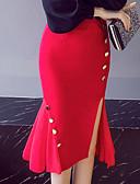 Χαμηλού Κόστους Γυναικείες Φούστες-Γυναικεία Μεγάλα Μεγέθη Εφαρμοστό / Τρομπέτα / Γοργόνα Εξόδου Βαμβάκι / Λινό Φούστες - Μονόχρωμο Καρφί / Σκίσιμο Με χώρισμα Μαύρο Ρουμπίνι XXXL XXXXL XXXXXL / Sexy
