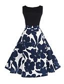Χαμηλού Κόστους Print Dresses-Γυναικεία Βίντατζ Βαμβάκι Θήκη Swing Φόρεμα - Φλοράλ, Στάμπα Ως το Γόνατο