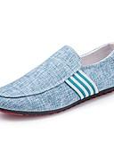 ราคาถูก กางเกงผู้ชาย-สำหรับผู้ชาย รองเท้าสบาย ๆ ผ้าลินิน ฤดูใบไม้ผลิ / ตก รองเท้าส้นเตี้ยทำมาจากหนังและรองเท้าสวมแบบไม่มีเชือก สีดำ / ฟ้า / สีเทา / สำนักงานและอาชีพ