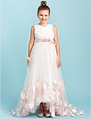 Χαμηλού Κόστους Φορέματα για παρανυφάκια-Γραμμή Α / Πριγκίπισσα Λαιμόκοψη V Ουρά Σατέν / Τούλι Φόρεμα Νεαρών Παρανύμφων με Φιόγκος(οι) / Ζωνάρια / Κορδέλες / Γαμήλιο Πάρτι