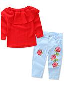 povoljno Kompletići za djevojčice-Dijete koje je tek prohodalo Djevojčice Cvijetan Svečana odjeća Jednobojni Cvjetni print Print Dugih rukava Regularna Normalne dužine Pamuk Komplet odjeće Red