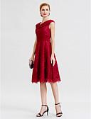 ราคาถูก ชุดแม่เจ้าสาว-A-line คอวี เสมอเข่า ชิฟฟอน / Glitter Lace / ปักลูกปัด แม่ของชุดเจ้าสาว กับ ริบบิ้น / ดอกไม้ โดย LAN TING BRIDE®
